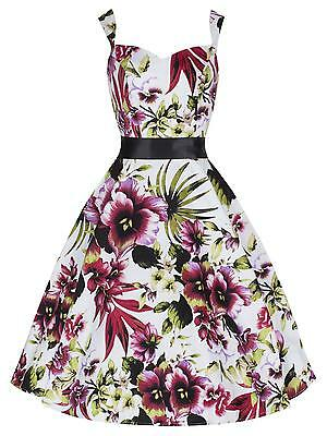Ladies 40's 50's Vintage Red Orchid Floral Full Circle Swing Dress New 8 - 26