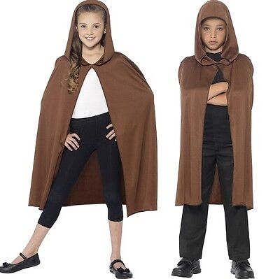 Childrens Fancy Dress Hooded Cape Brown Kids Halloween Cloak New by Smiffys