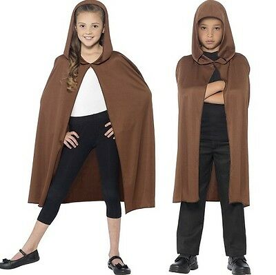 Childs Fancy Dress Hooded Cape Brown Kids Childs Book Day Cloak by Smiffys