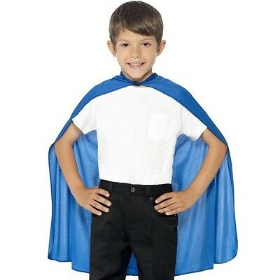 Childrens Childs Fancy Dress Cape Blue Kids Superhero Cloak New by Smiffys