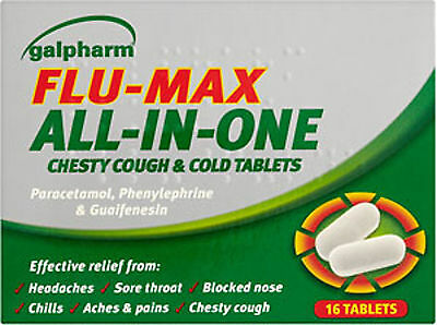Galpharm Flu Max All In One Chesty Cough & Cold Tablets 16 Pack - Blocked Nose
