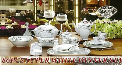 service de table 86 pcs en porcelaine TASSE A CAFE ASSIETTE PLAT saladier promoo