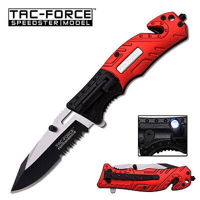 TAC FORCE RED FIREFIGHTER TACTICAL RESCUE KNIFE
