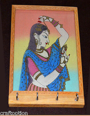 Gem stone glass painting carved wood key wall holder with four hooks from India