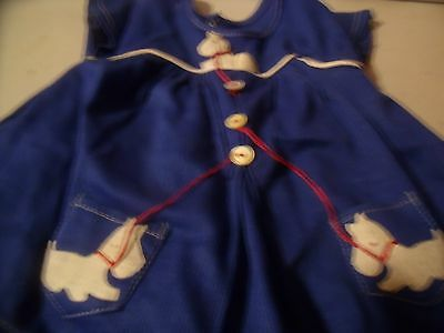 """18"""" Shirley Temple NRA Tag Blue Scottie Dress 1930's"""