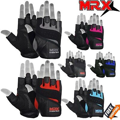 Weight Lifting Gloves Leather Fitness Gym Training Workout Glove Mens Womens MRX