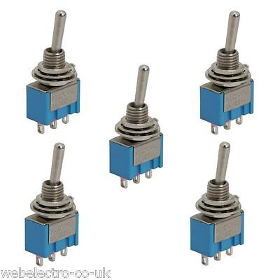 09018 5x SPDT Miniature Toggle Switch 3 Position 3 PIN (ON-OFF-ON) 3A 250V