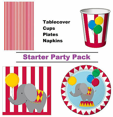Circus Time 8-48 Guest Starter Party Pack | Tablecover | Cups | Plates | Napkins