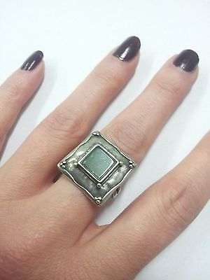 Israel Sterling Silver 925 Square Green Gemstone Agate Ring Size 8 Didae