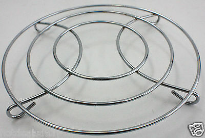 "Stainless Steel Chrome Trivet Wire 8"" Round Shaped Hot Plate Home Decor"