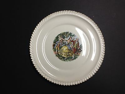 Lot of 5 HARKER POTTERY Godey Prints, Colonial Couple Dinner Plates  22kt Gold
