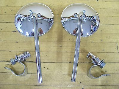 "Vintage Motorcycle Mirrors Harley Panhead Knucklehead Chopper Bobber 1"" Clamp"