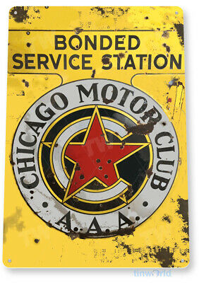 """TIN SIGN """"Chicago Motor Club"""" Station Decor Gas Oil Garage Shop Store Cave A039"""