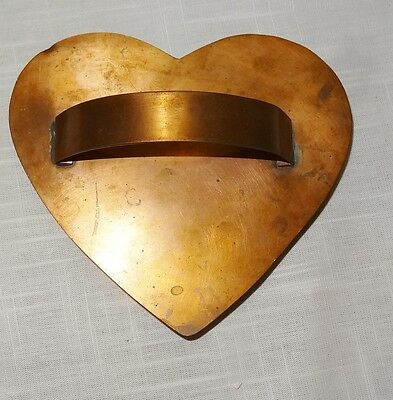 """Vintage Signed Solid Copper Cookie Cutter Large Heart w Handle 5.5"""""""