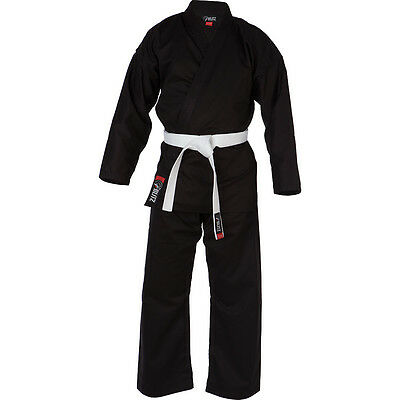Blitz Adult Gi Polycotton Black Student Karate Suit with FREE WHITE BELT. 160+