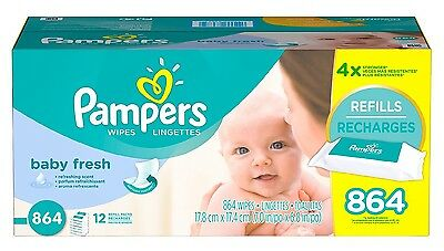 Pampers Soft Care Baby Wipes 864 Count Cleans Refreshing scent with vitamin E