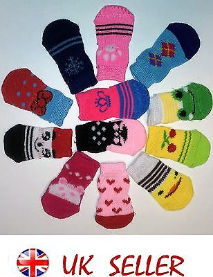 4 Pcs Pet  Socks Cute Puppy Dogs indoor Pet Dog Soft Cotton Anti-slip 50 Style