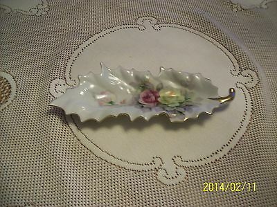 Arnart Made In Japan Leaf Design Rose Pattern Celery Dish