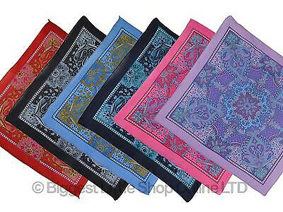 "NEW L Paisley Print Bandana/Scarf Bikers 6 Colours Middle Eastern 60s 21"" x 21"""