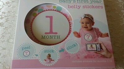 BABY'S FIRST YEAR Pink Girl Peel-and-Stick Belly Stickers Months 1-12 Cute!