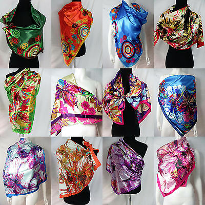 "US SELLER-lot of 5 floral retro bohemian large satin square scarf 39""x39"""