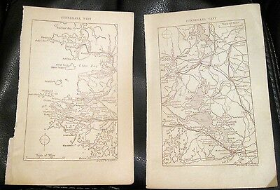 Two Small Maps CONNEMARA East & West Ireland Black Walker & Boutall 4x6.5 1900