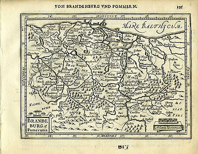 1651 Antique map northeast Germany, Brandenburg, Pomerania. Mercator/Jansson