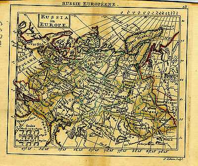 1761 Genuine Antique miniature hand colored map Russia in Europe. by A. Dury