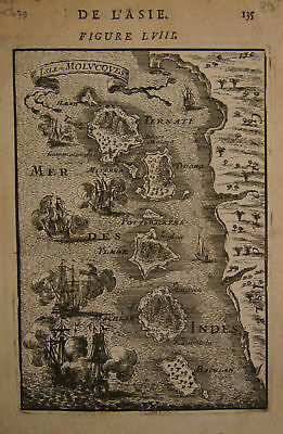 1683 Genuine Antique map Molucca Islands. A M Mallet, 1683