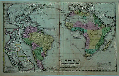 1837 Genuine Antique Hand Colored Map of South America & Africa. Woodbridge