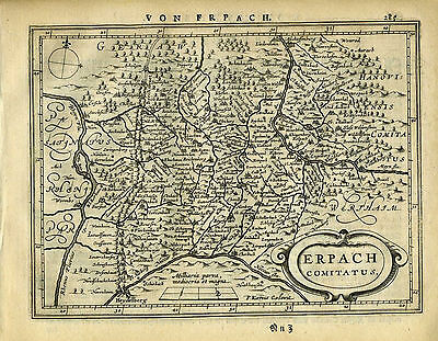 1651 Genuine Antique map SW Germany, Heidelberg, Erpach. Mercator/Jansson