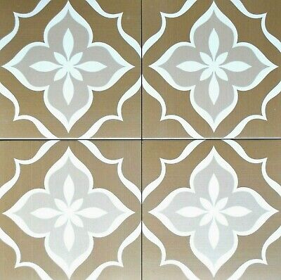 8X8 Flora Encaustic Weathered Brown Glazed Porcelain Tile Floor/Wall (1 piece)