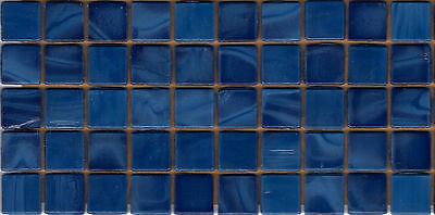 50pcs N55 Dark Blue Natura Opaque Glass Mosaic Tiles 15mmx15mmx4mm Paper faced