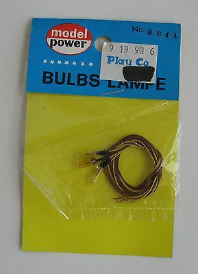 Pack (3) Model Power #384A Toy Train Railroad Bulbs Amber Grain Of Wheat Lamps