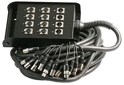 Pulse 12 Way XLR Multicore Stage Box 8 Sends 4 Returns 30m Touring Grade Snake