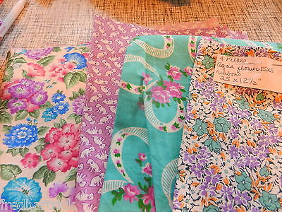 Vintage Feedsack Reproduction Fabric- 4 pieces of Aqua and purple shades