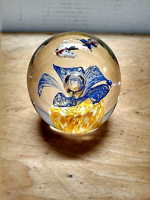 Vintage Art Glass Paperweight / Butterflies & Flower with Controlled Bubble