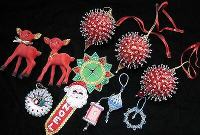 Estate LOT Handmade sequined Christmas Ornaments flocked deer, Beaded FUN!