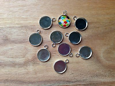 10 pieces silver plated 12mm cameo dome cabochon base setting charm pendant