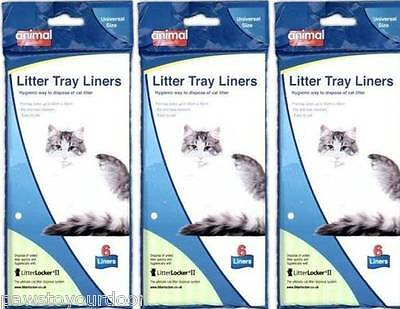 Cat Litter Tray Liners 55 x 40cm Liner Animal Instinct No Rip Disposable 3x 6pk