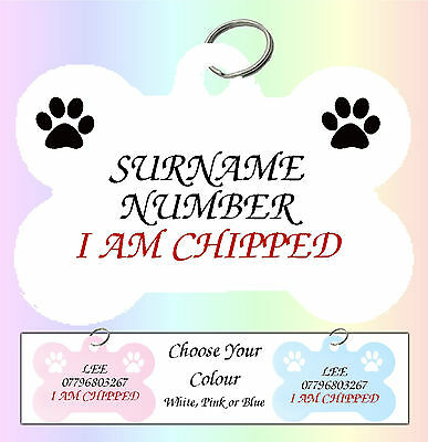 Double Sided Personalised Medium Bone Pet Puppy Dog Cat Kitten Id Tag paws2print