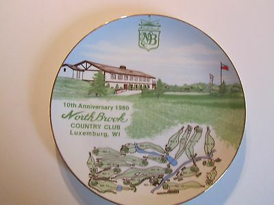 Vintage 1980 Northbrook Country Club Luxemburg, WI 10th Anniversary Plate