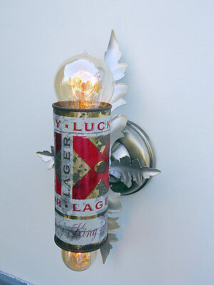 Custom Made Sconce Light Fixture , Vintage Lucky Lager Beer Can (fixture1of 2)