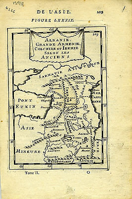 1683 Genuine Antique map Albania, Armenia, Sarmatie, Colchide, Iberie. AM Mallet