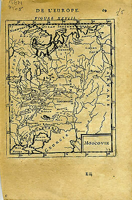 "1683 Genuine Antique map ""Moscovie"", Russia in Europe, Moscow. A.M. Mallet"