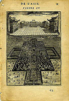 "1683 Genuine Antique print ""Palais de Peking"", China, Peking. A.M. Mallet"