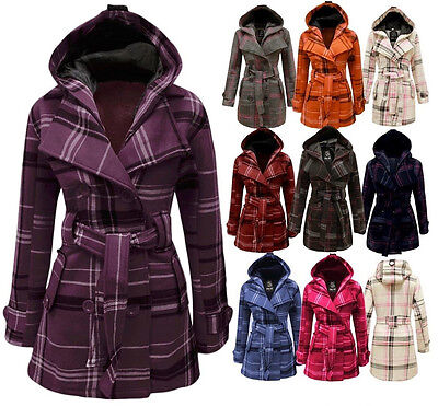 New Ladies Button Hooded Checked Jacket Belted Womens Coat  Sizes 8-20