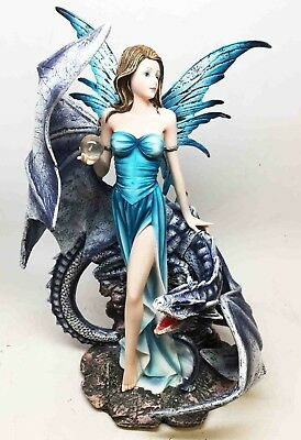 12.5 Inch Blue Winged Fairy with Dragon and Orbe Statue Figurine