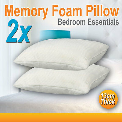 2x Pack Deluxe Visco Elastic Memory Foam Surround Pillow 13cm Thick High Density