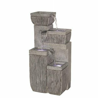 4 Bowl Textured Granite Garden Water Feature with LED Lights